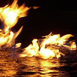 flames on water