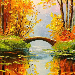 13 - autumn forest river bridge